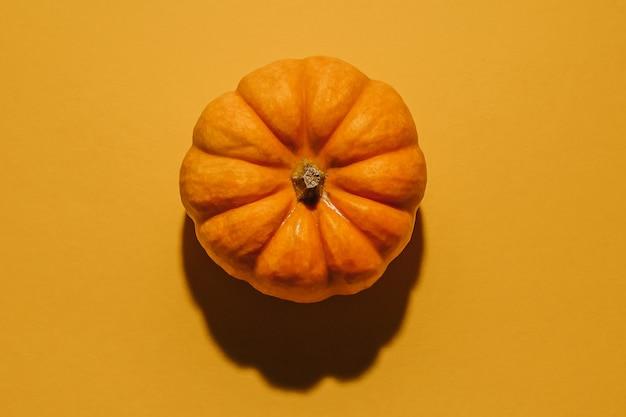 Abóbora madura fresca em fundo laranja, plana leiga. espaço para maquete de texto conceito de fundo de halloween