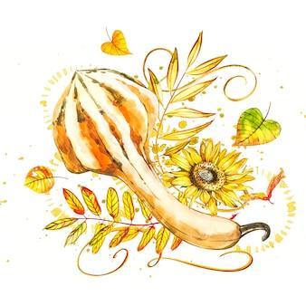 Abóbora. mão desenhado em aquarela pintura em branco. ilustração em aquarela com um esguicho.