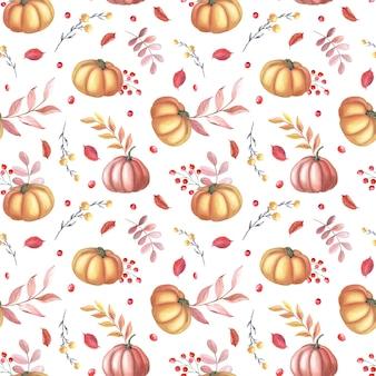 Abóbora vermelha aquarela e folhas de outono marrons em fundo branco. padrão sem emenda de jardim. ilustração em aquarela de vegetal para o dia de ação de graças. arte botânica para impressão, têxtil, tecido, papel de embrulho