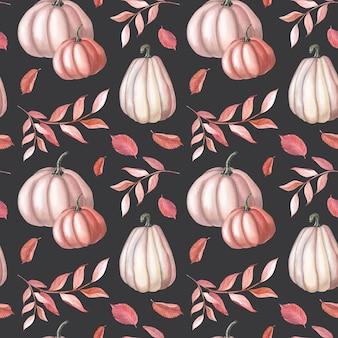 Abóbora vermelha aquarela e folhas de outono marrons em fundo escuro. padrão sem emenda de jardim. ilustração em aquarela de vegetal para o dia de ação de graças. arte botânica para impressão, têxtil, tecido, papel de embrulho
