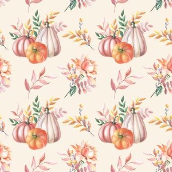Abóbora vermelha aquarela e rosa de outono, folhas no fundo branco. padrão sem emenda com manchas de aquarela. ilustração de vegetais para o dia de ação de graças. botânico