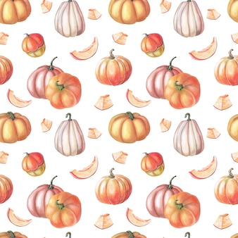 Abóbora vermelha em aquarela e folhas de outono em fundo branco. padrões sem emenda