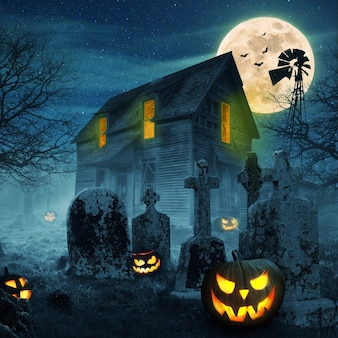 Abóboras assustadoras com lua cheia, floresta escura, cemitério e casa velha assustadora com luz. feliz dia das bruxas desenho plano de fundo. conceito de pesadelos
