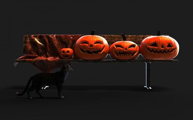 Abóboras assustadoras de halloween da lanterna de jack o e gato preto.