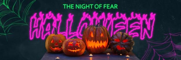 Abóboras assustadoras em fundo preto, a noite do medo. design de néon brilhante com cores rosa e verdes. halloween, sexta-feira negra, cyber segunda-feira, vendas, conceito de outono. folheto para sua publicidade.