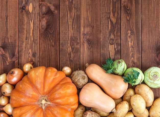 Abóboras, batatas e cebolas