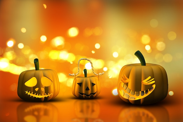 Abóboras de halloween 3d em um fundo de luzes de bokeh
