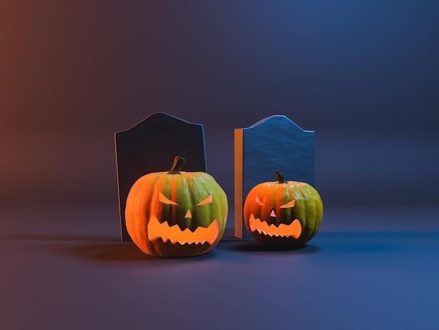 Abóboras de halloween com sepulturas