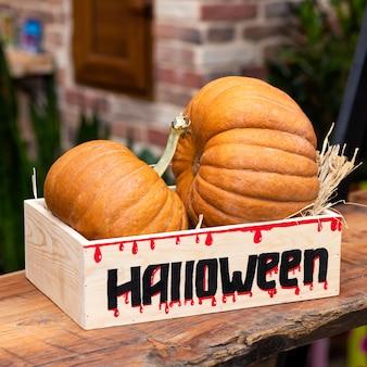 Abóboras de halloween em caixa de madeira