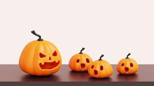 Abóboras de halloween, jack o lantern na mesa com background.3d branco render ilustração.