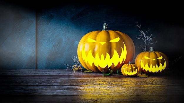 Abóboras de halloween na madeira à noite