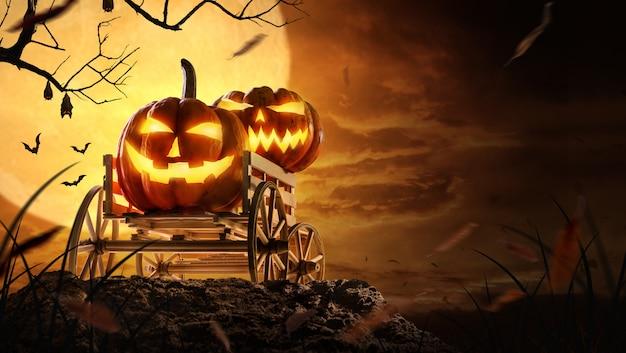 Abóboras de halloween no vagão de fazenda no assustador na noite de lua cheia e morcegos voando