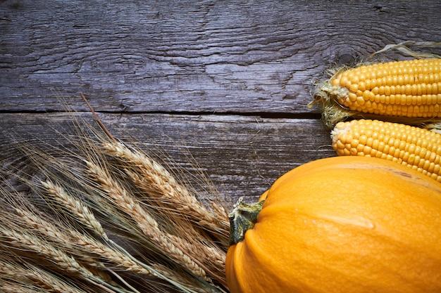 Abóboras de outono close-up, milho e espigas maduras de trigo na mesa de ação de graças
