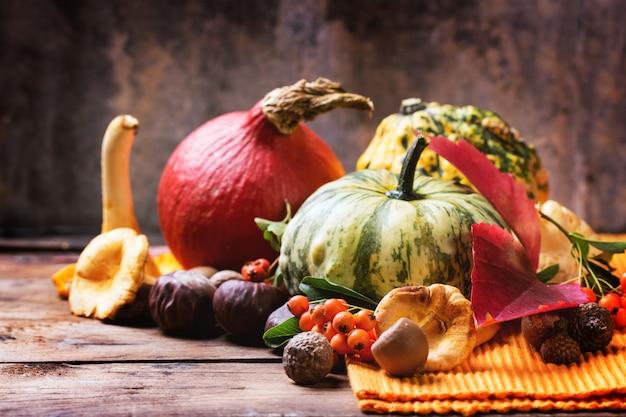 Abóboras, nozes e frutas