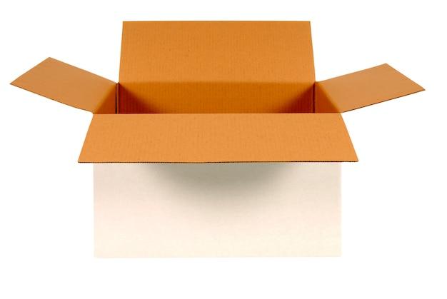 Abra a caixa de papelão branco