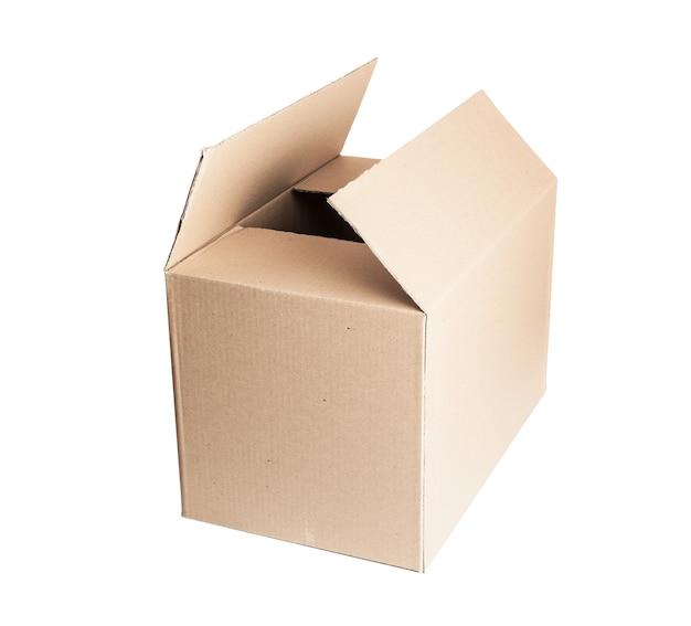 Abra a caixa de papelão. isolado no fundo branco, com traçado de recorte