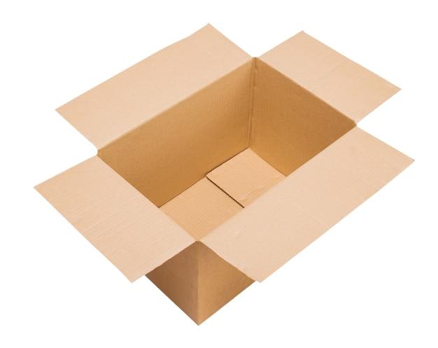 Abra a caixa de papelão ondulado posicionada em três quartos para o visualizador isolar a vista superior
