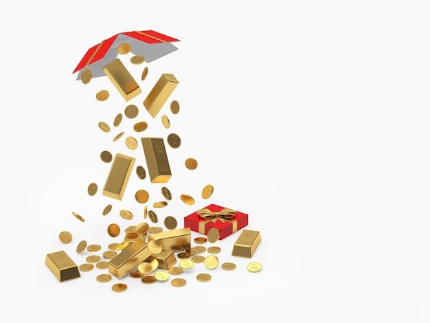 Abra a caixa de presente com barras de ouro caindo e moedas isoladas