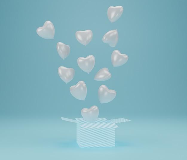 Abra a caixa de presente com coração de balão flutuando sobre fundo azul, símbolos de amor para mulheres felizes, mães, dia dos namorados, conceito de aniversário. renderização 3d