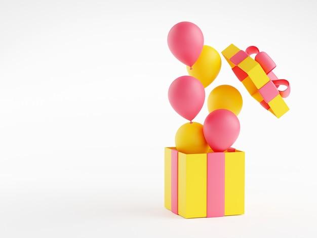 Abra a caixa de presente com ilustração 3d de balões flutuantes. caixa de presente amarela de aniversário ou natal com fita rosa e arco. balões voando para fora do pacote embrulhado em fundo branco, com espaço de cópia.
