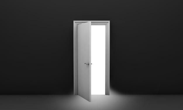 Abra a porta branca em uma sala preta e vazia renderização 3d
