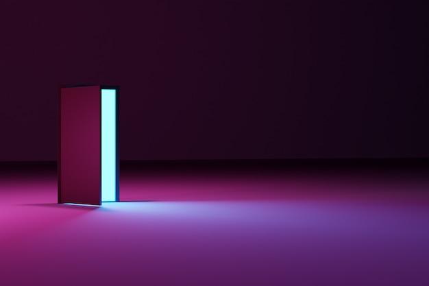Abra a porta de onde uma luz branca brilha em um quarto escuro com luz rosa
