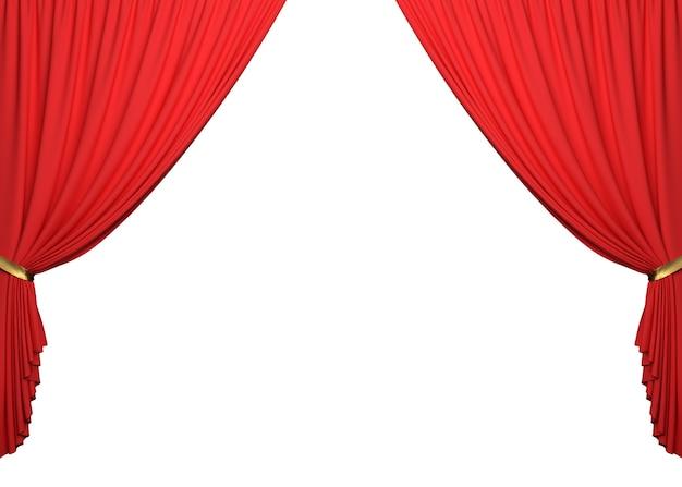 Abra as cortinas vermelhas sobre fundo branco com traçado de recorte