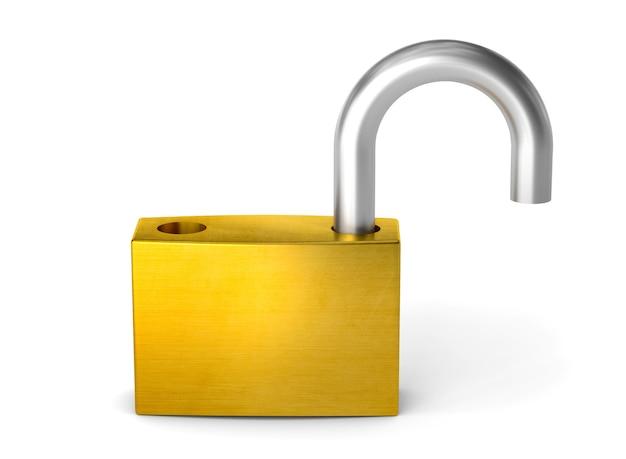 Abra o cadeado. desbloquear o bloqueio. isolado no fundo branco com traçado de recorte. 3d render