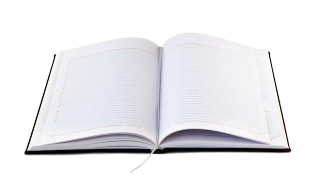 Abra o caderno com páginas alinhadas a branco, isoladas no fundo branco. livro em branco aberto com traçado de recorte