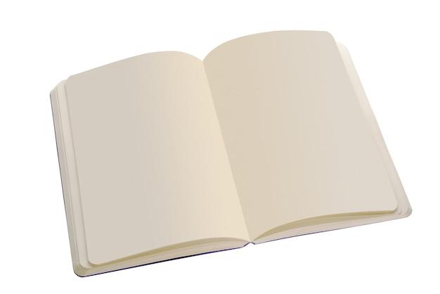 Abra o caderno com páginas em branco. isolado em um fundo branco. corte usando um caminho. profundidade de campo total ...