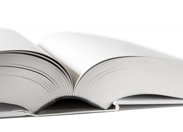 Abra o dicionário em branco, livro sobre fundo branco
