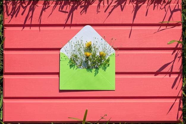 Abra um envelope verde com flores silvestres em um fundo rosa de madeira. olá do verão