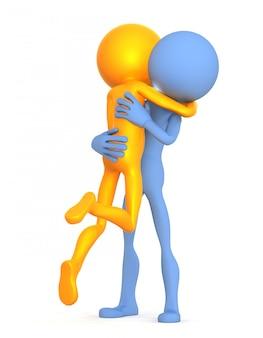 Abraçando personagens 3d