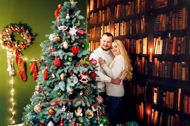 Abraçar casal fica diante de uma árvore de natal