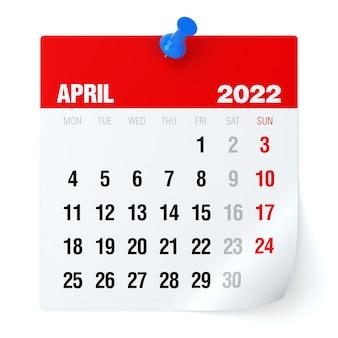 Abril de 2022 - calendário. isolado no fundo branco. ilustração 3d