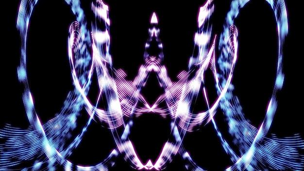 Abstração de um caleidoscópio de linhas de luz psicodélicas