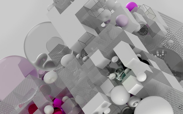Abstract d art puzzle game - cubo ou caixa em vista isométrica com base em figuras geométricas pequenas e grandes como cubo em esfera de estrutura de arame ou toróide de bola na cor roxa e branca