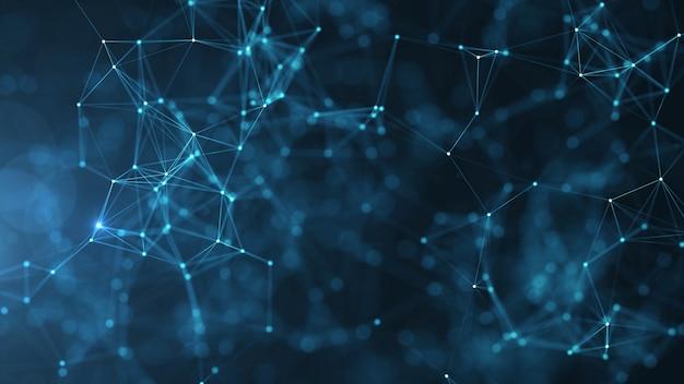 Abstraia pontos e linhas conectados no fundo azul. comunicação.