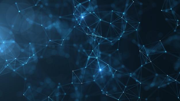 Abstraia pontos e linhas conectados no fundo azul.