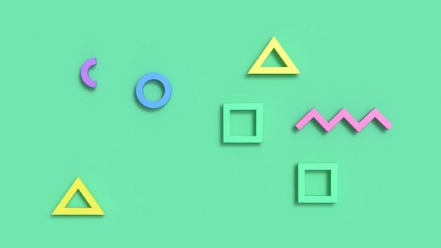 Abstrato 3d verde com formas geométricas