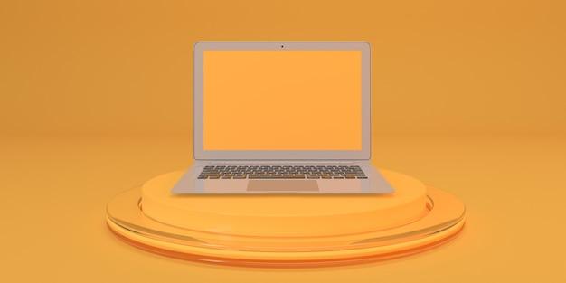 Abstrato amarelo para design pedestal com laptop