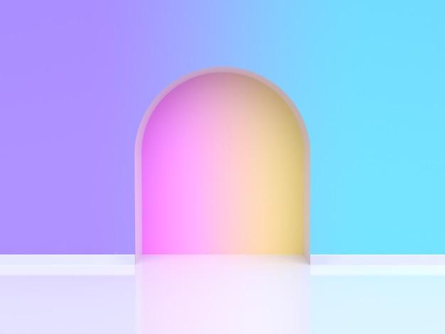Abstrato arqueado porta gradiente violeta roxo azul renderização em 3d