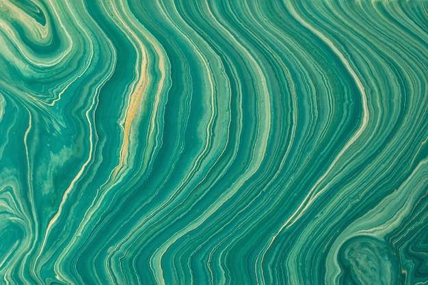 Abstrato arte fluida fundo verde e dourado cores brilhantes