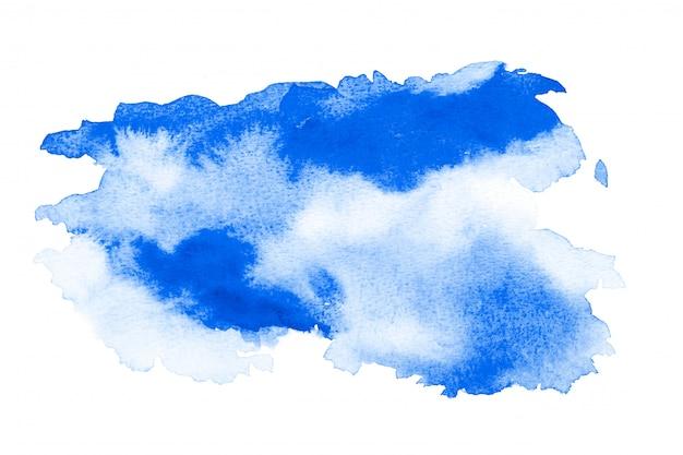 Abstrato azul aquarela. a cor espirrando no papel. desenhado à mão.