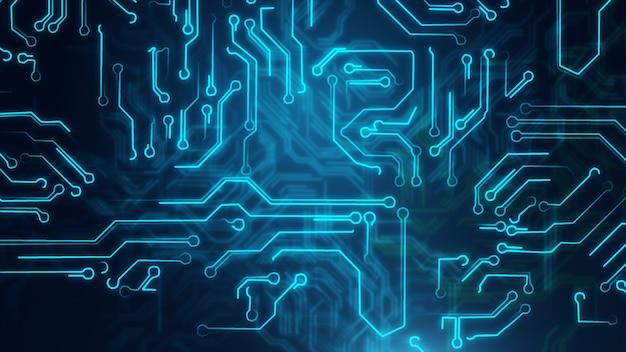 Abstrato azul com placa de circuito de alta tecnologia