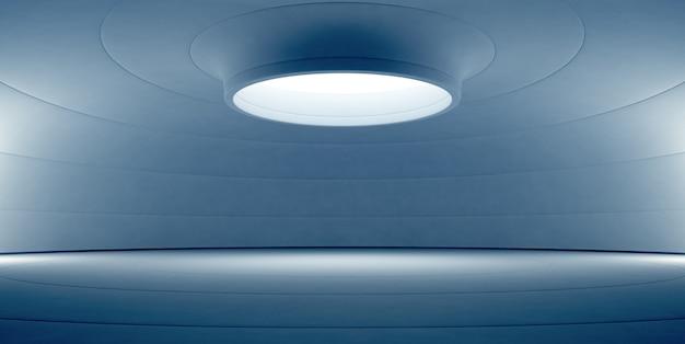 Abstrato azul design de interiores do showroom moderno com piso branco vazio e muro de concreto curvado