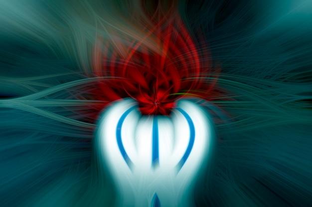 Abstrato azul e vermelho flor raios brilhantes fundo azul psicodélico