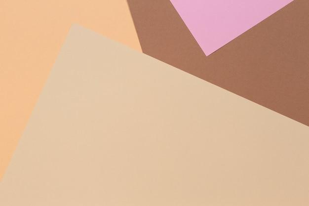 Abstrato base de composição de geometria de papel de cor bege, marrom, amarelo e rosa
