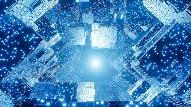 Abstrato base de ficção científica futurista digital, big data, hardware de computador, rede, luz de néon azul, modelo 3d e ilustração.