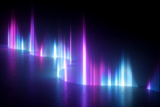 Abstrato base de luz de néon, raios verticais de aurora boreal artificial.